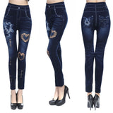 Womens High Waisted Rose Jean Leggings