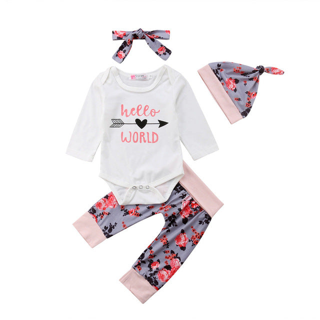 Girls Cotton Hello World Romper + Pants + Hat + Headband