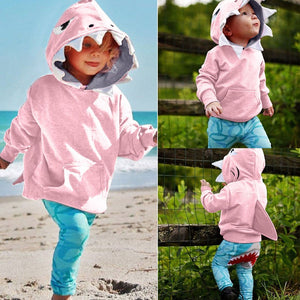Girls Cartoon Shark Hoodie