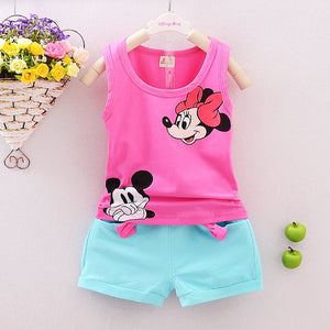 Girls Mickey Mouse Singlet + Shorts Set