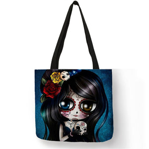 Sugar Skull Print Tote Bag 6 Designs