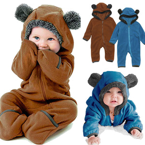 Boy Girl Fleece Hooded Jumpsuit
