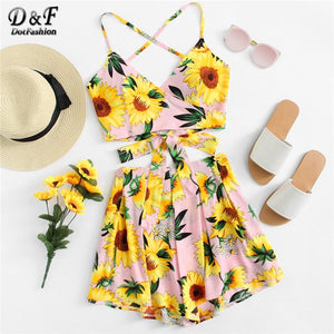 Womens Sunflower Two Piece Set