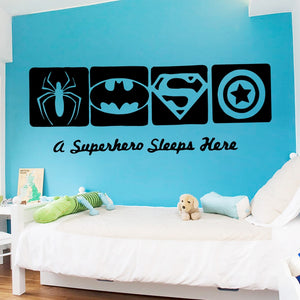 A Superhero Sleeps Here Vinyl Wall Sticker
