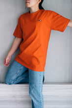 Premium Small Logo Garment Dye Crew Neck T-shirt (Orange)