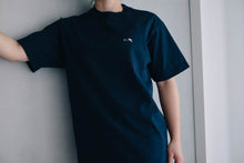 Premium Small Logo Garment Dye Crew Neck T-shirt (Navy)