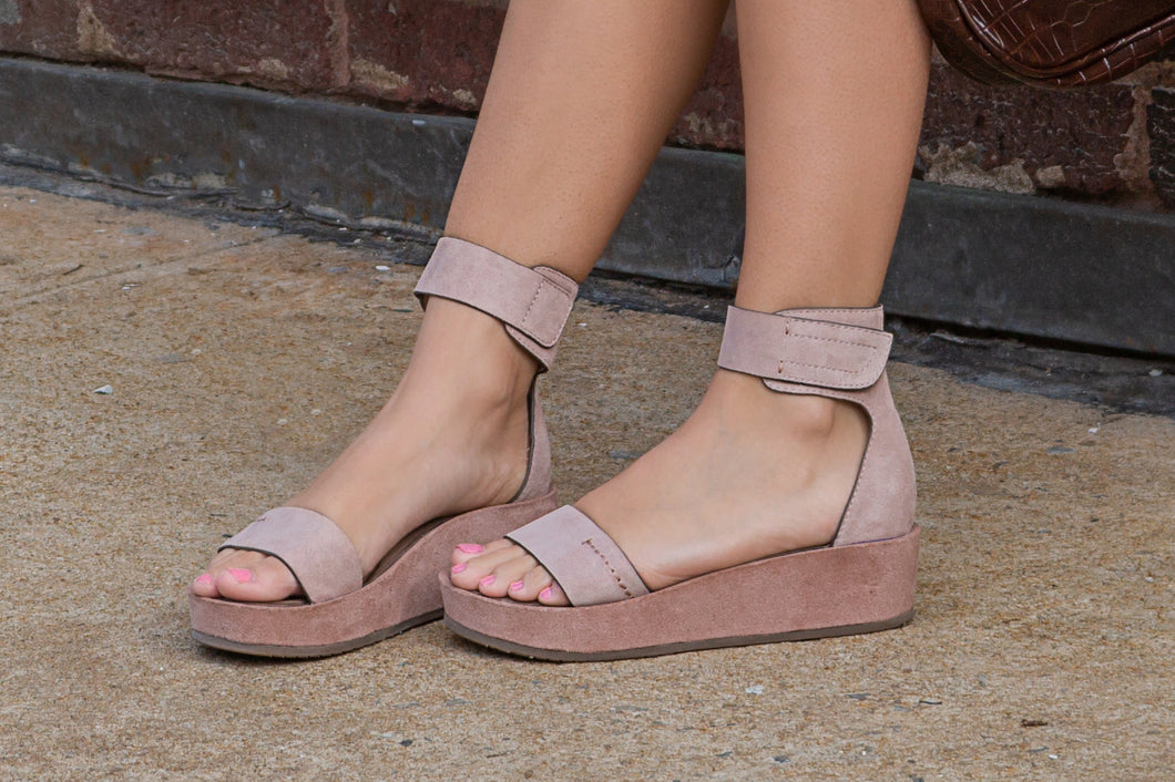 NAKED FEET - RENZI in PECAN Wedge Sandals