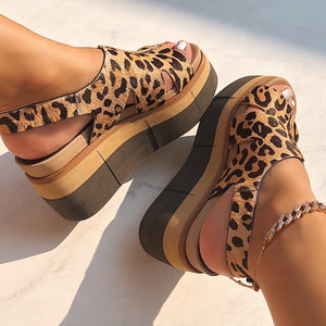 NAKED FEET - GEO in LEOPARD PRINT Wedge Sandals