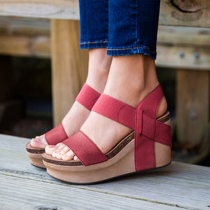 OTBT - BUSHNELL in RED Wedge Sandals