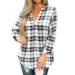 Spring Print V-neck Plaid Blouse