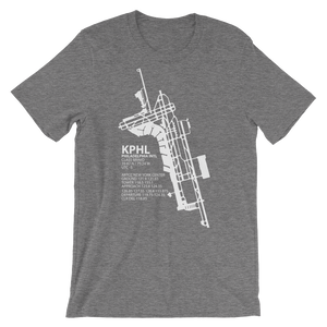 KPHL / PHL - Philadelphia International - Unisex short sleeve t-shirt