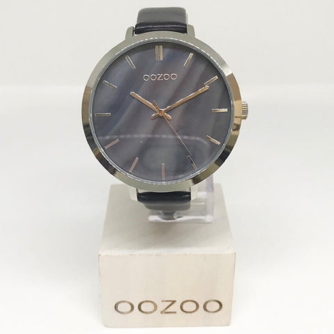 OOZOO WATCH 50MM PEARL FACE + SILVER CASE + BLACK LEATHER BAND