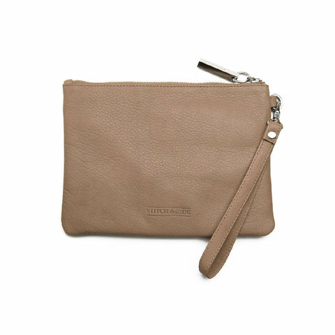STITCH & HIDE CASSIE DUSTY LINEN CLUTCH