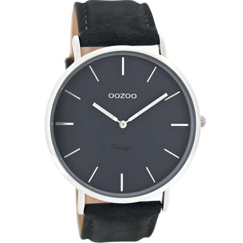 OOZOO WATCH 44MM NAVY FACE + SILVER CASE + NAVY LEATHER BAND