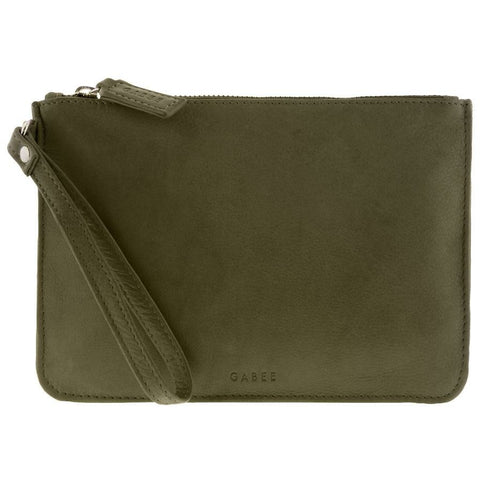 GABEE QUEENS OLIVE LEATHER CLUTCH