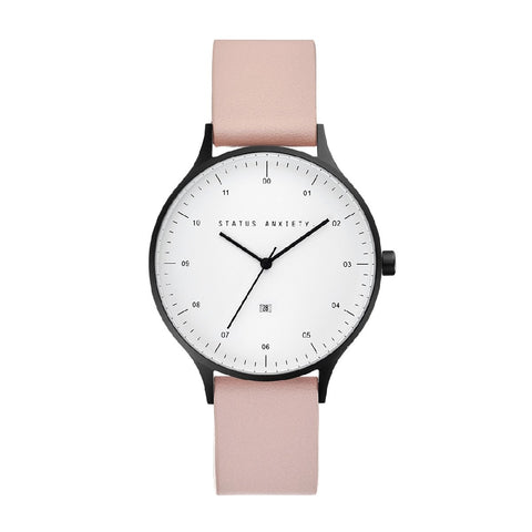 STATUS ANXIETY INERTIA WATCH MATTE BLACK + WHITE FACE + BLUSH STRAP