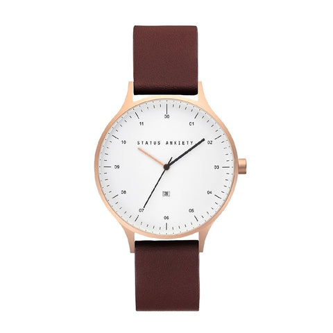 STATUS ANXIETY INERTIA WATCH BRUSHED COPPER + WHITE FACE + BROWN STRAP