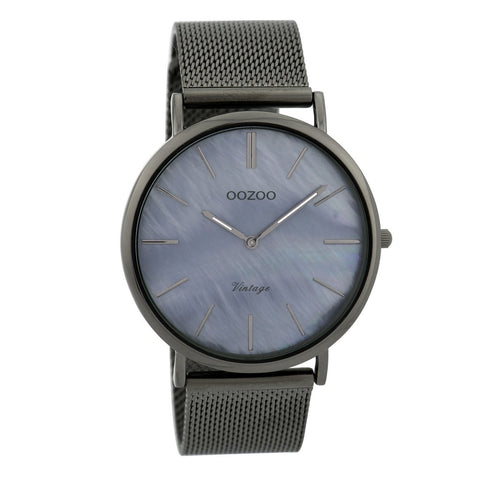 OOZOO WATCH 40MM BLACK PEARL FACE + TITANIUM CASE + TITANIUM MESH BAND