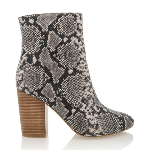 BILLINI JANITA NATURAL SNAKE HEEL BOOT