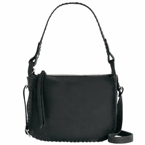 GABEE NORA LEATHER SHOULDER BAG BLACK