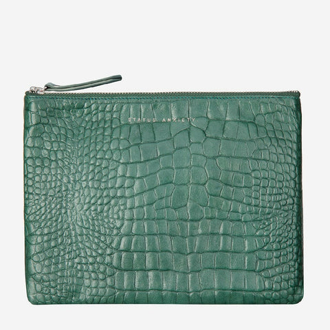 STATUS ANXIETY FAKE IT CLUTCH TEAL CROC