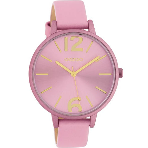 OOZOO WATCH 42MM SOFT PINK FACE + SOFT PINK CASE + SOFT PINK LEATHER BAND