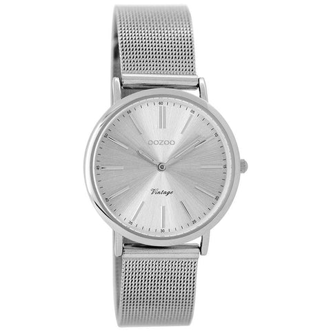 OOZOO WATCH 32MM SILVER FACE + SILVER CASE + SILVER MESH BAND