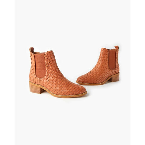 WALNUT GRACE LEATHER WEAVE ANKLE BOOT TAN
