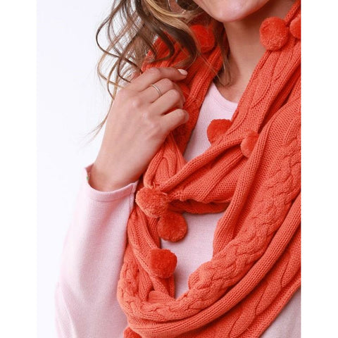 ELM BOBBLE LOOP SCARF ORANGE