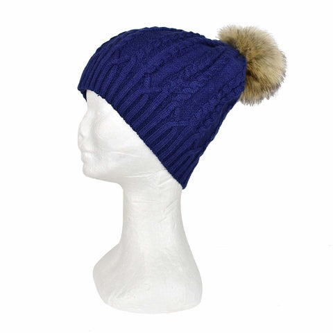 TAYLOR HILL NAVY BRAID CABLE BEANIE