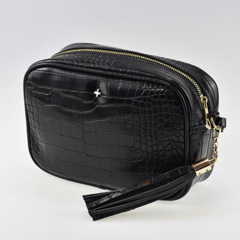 PETA AND JAIN GRACIE CROSSBODY BAG - BLACK CROC