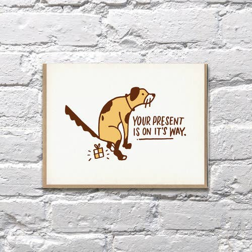 """Dog Poop Present"" Greeting Card"