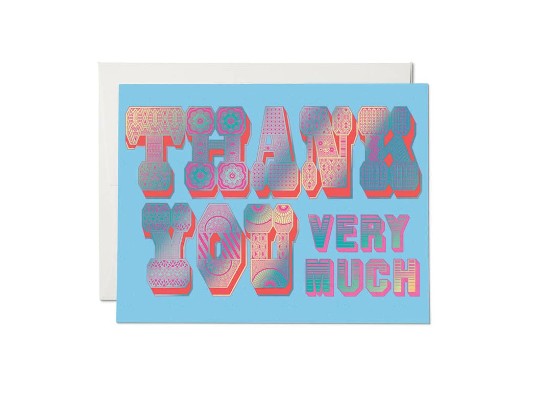 """Thank You Typography"" Greeting Card"