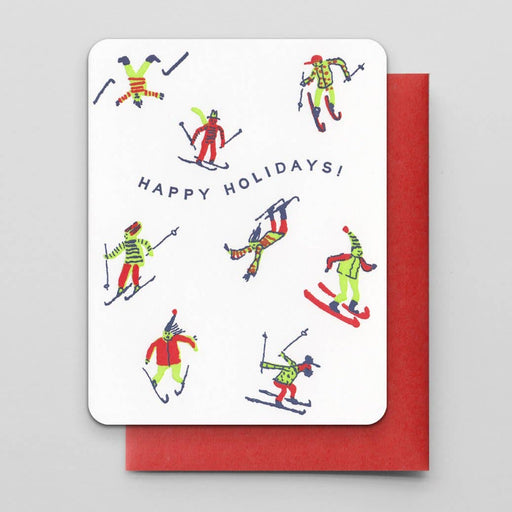 """Happy Holidays Skiers"" Greeting Card"