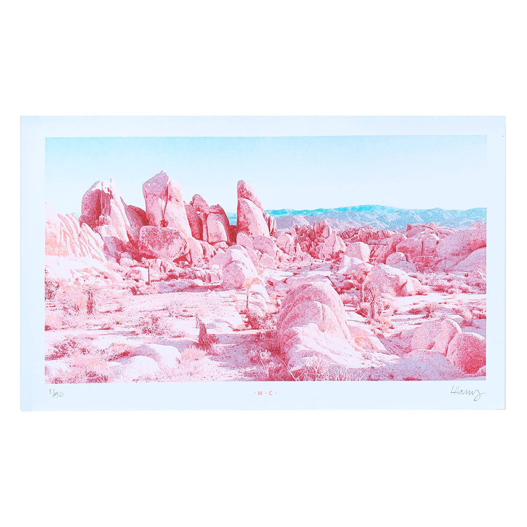 """Boulders at Joshua Tree"" Risograph Art Print"