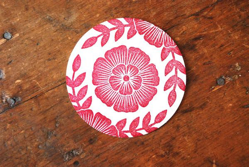Red Floral - Block Printed Coasters