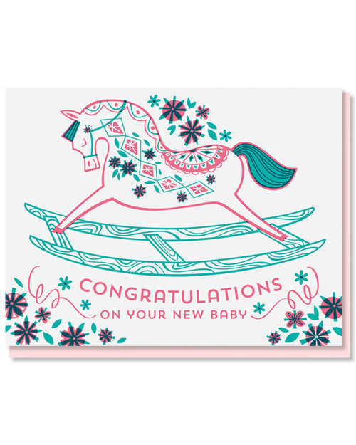 """Pink Rocking Horse"" Greeting Card"