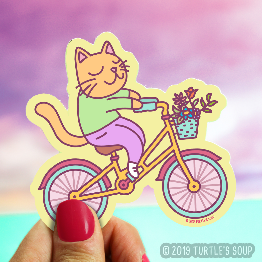 Bicycle Cat Vinyl Sticker