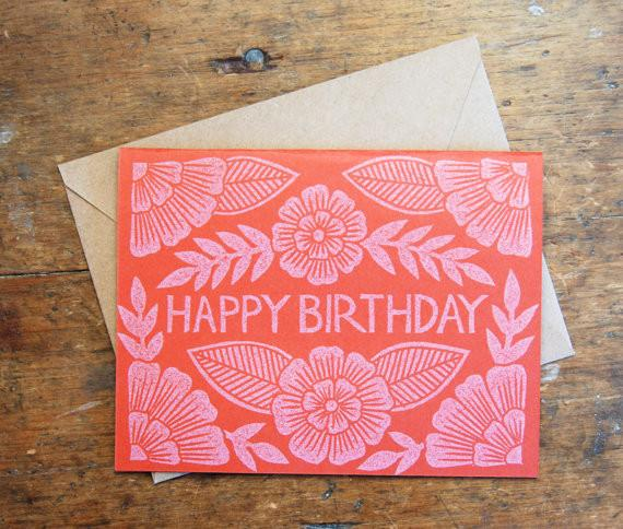 """Happy Birthday"" Block Printed Greeting Card"