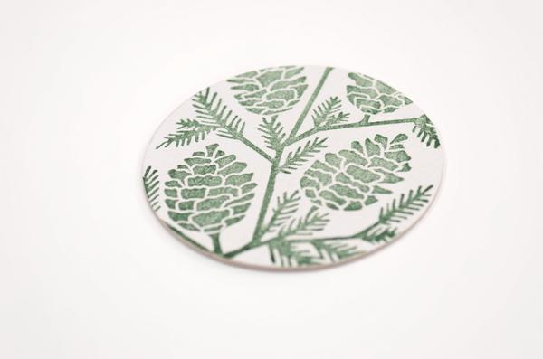 Green Floral - Block Printed Coasters