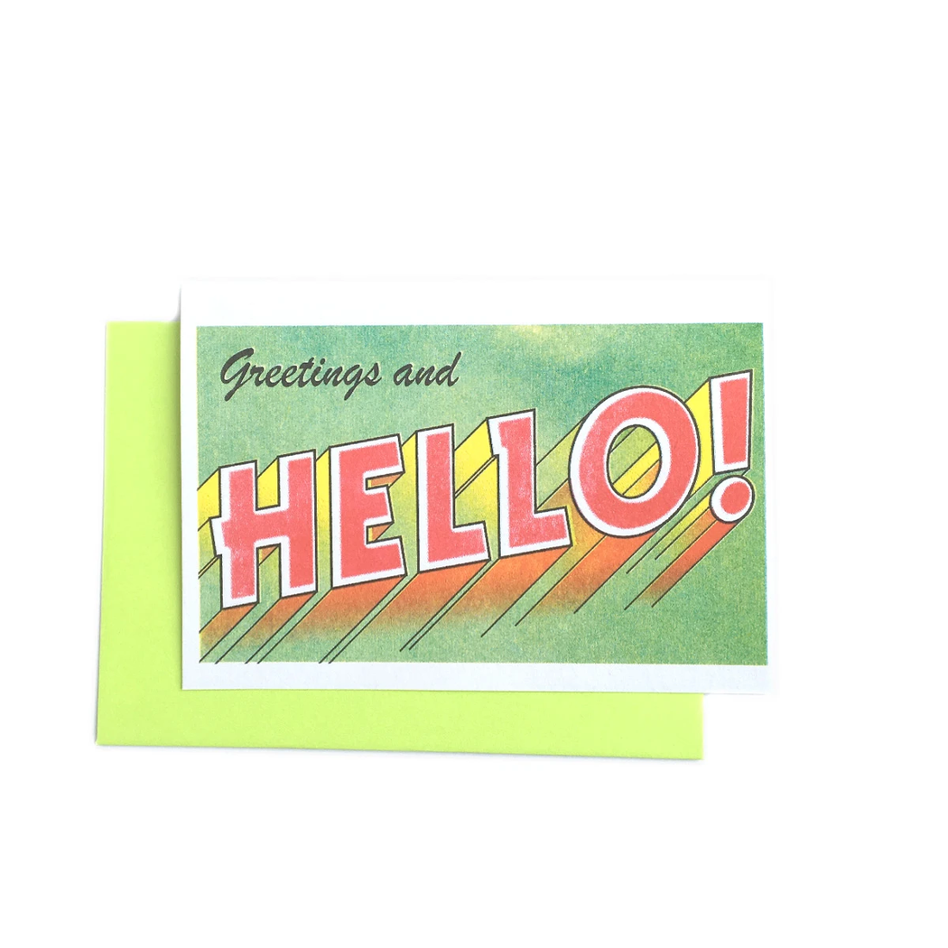 """Greetings and Hello!"" Risograph Greeting Card"
