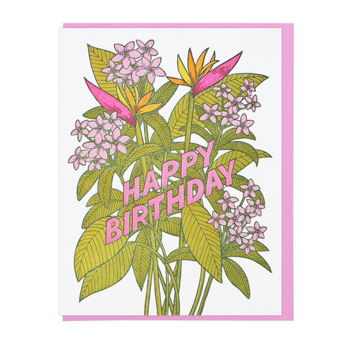 """Tropical Flowers"" Greeting Card"