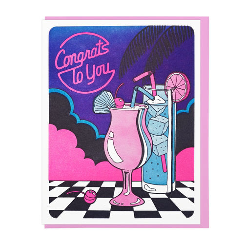"""Congrats To You Cocktails"" Greeting Card"