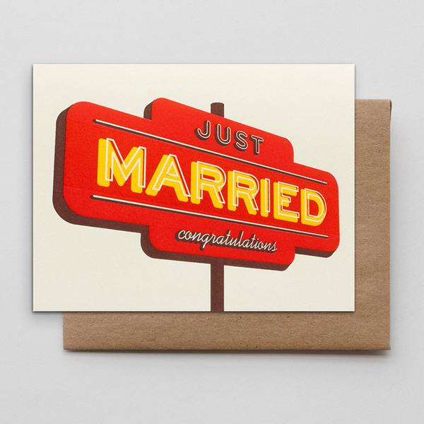 Motel Sign Congrats Letterpress Greeting Card