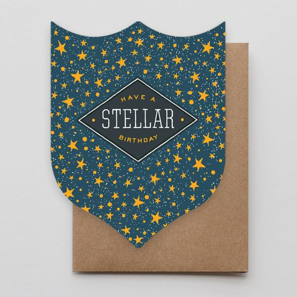 Stellar Birthday Badge Greeting Card