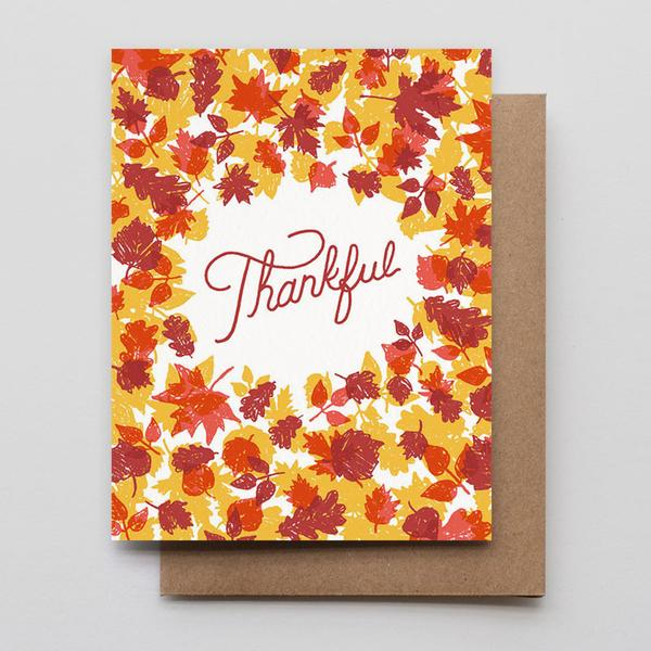 Thankful Fallen Leaves Letterpress Greeting Card
