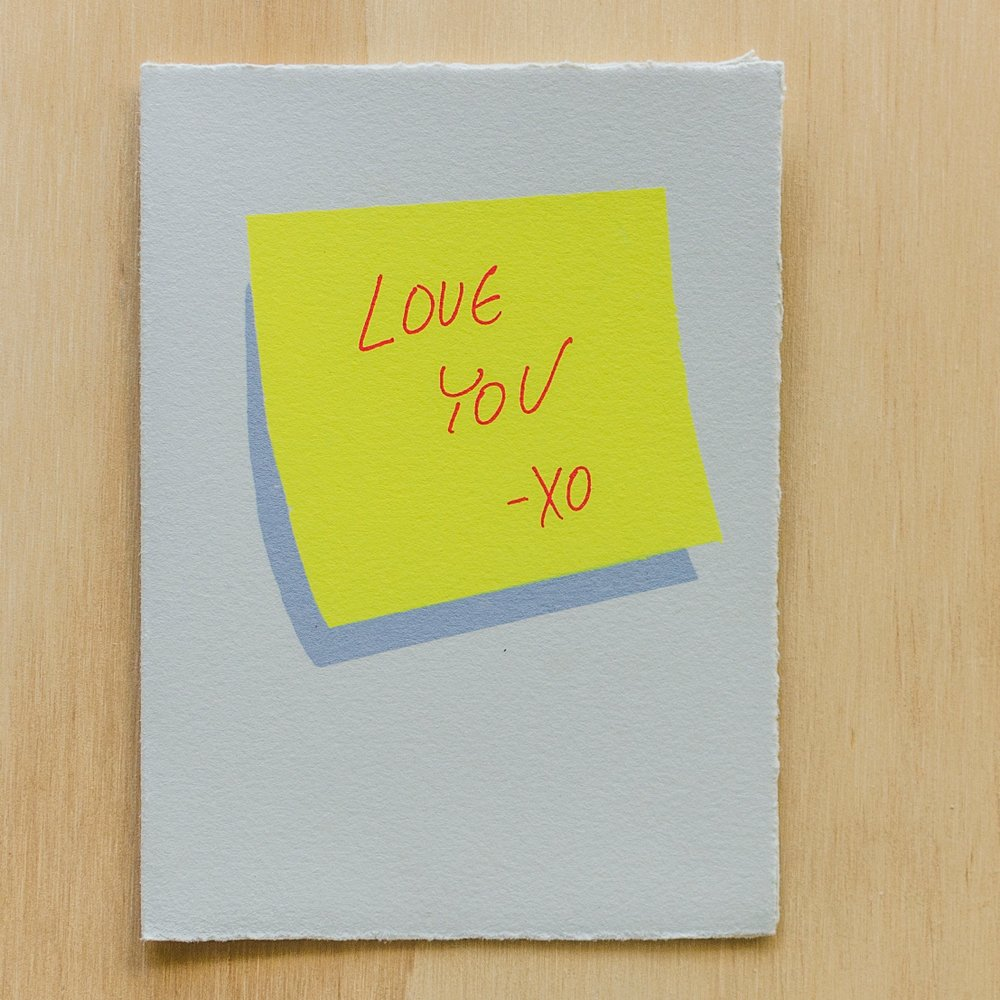 """Love You Sticky Note"" Greeting Card"
