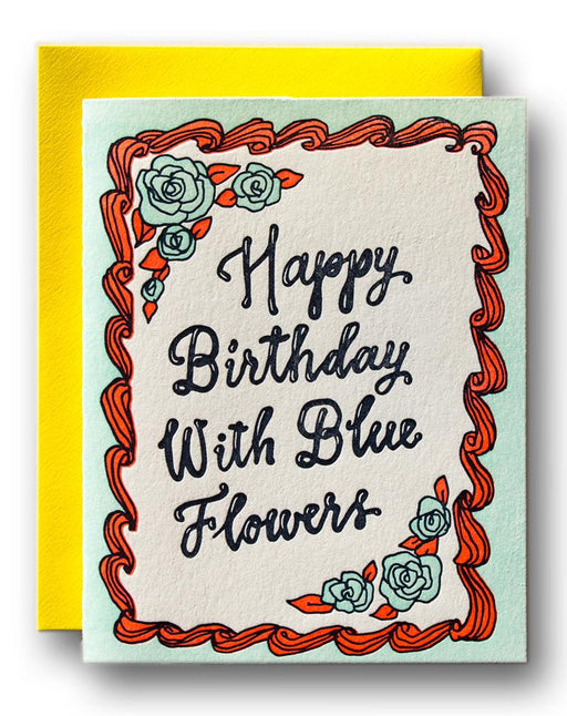 """Happy Birthday with Blue Flowers"" Greeting Card"