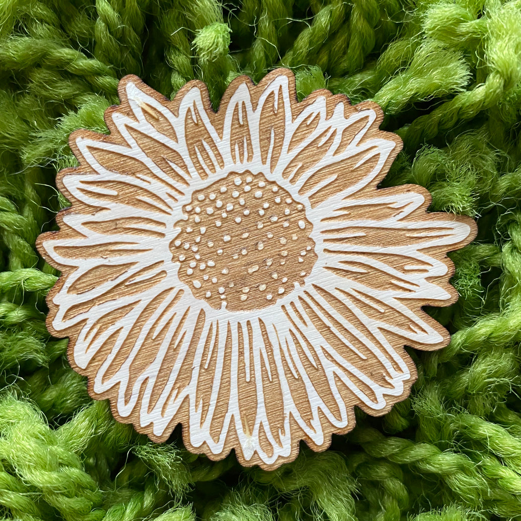 Sunflower Woodcut Magnet