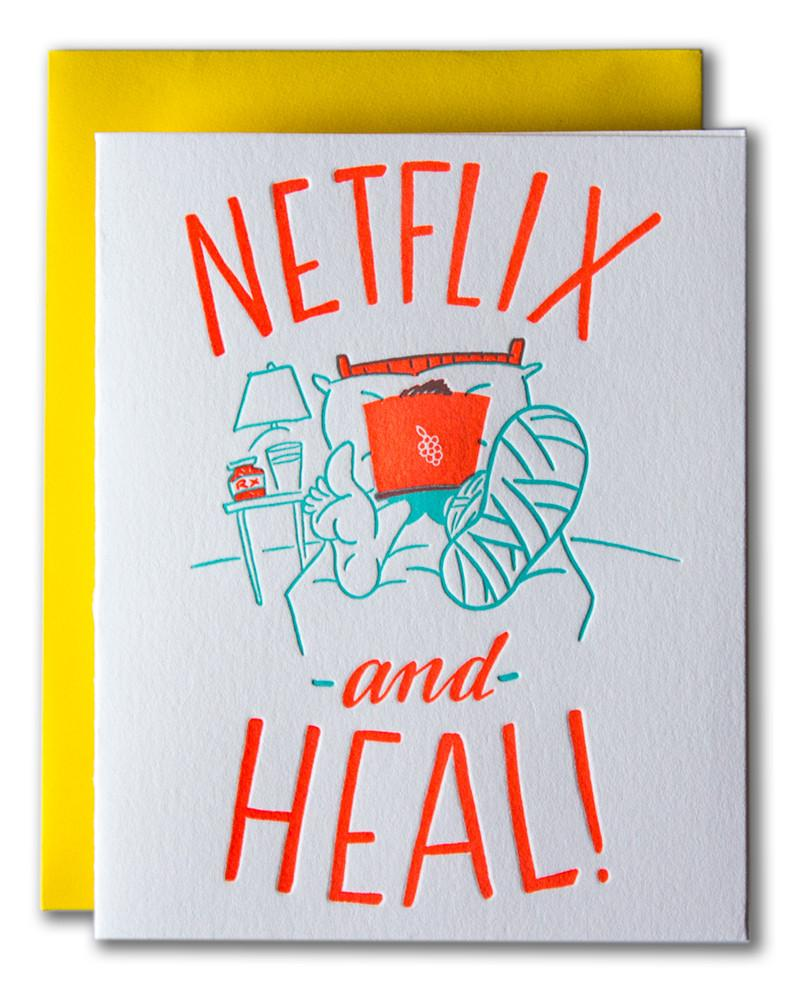 """Netflix and Heal"" Greeting Card"